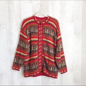 [Vintage] Alpaca Llama Nordic Zip Cardigan Sweater